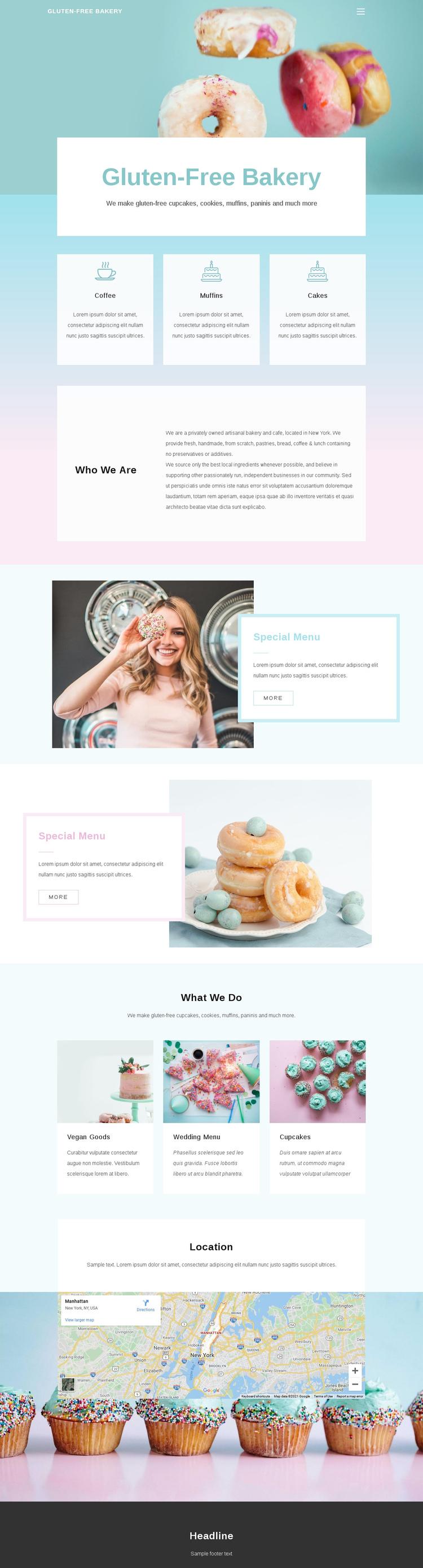 Gluten-Free Backery Website Builder Software