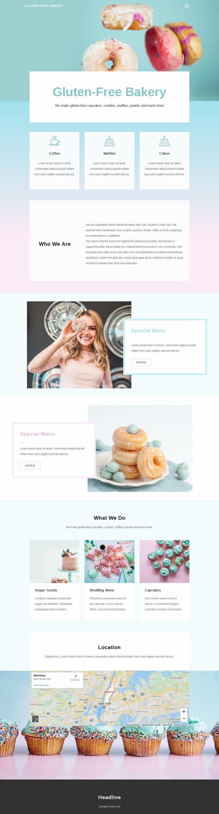 Gluten-Free Backery Website Mockup