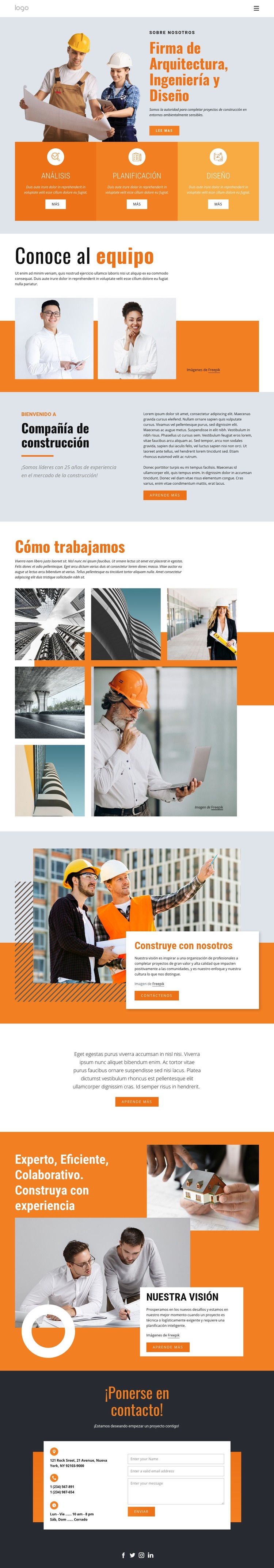 Firma de ingeniería Plantilla de sitio web