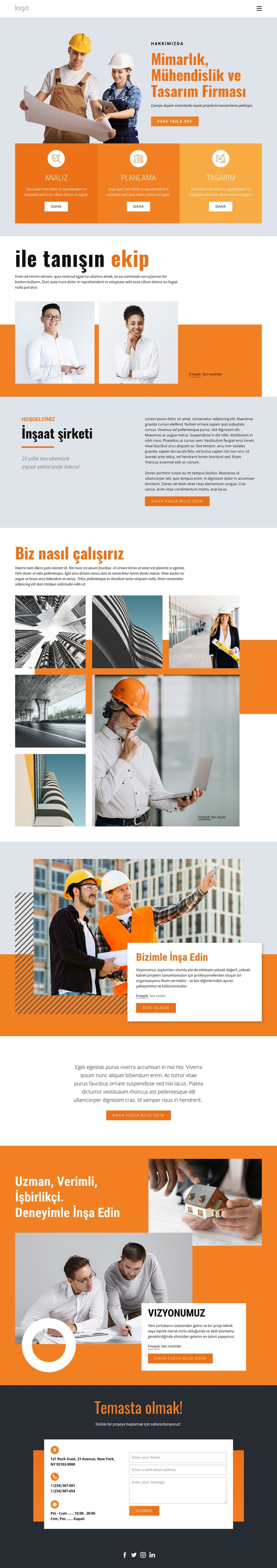 Mühendislik firması Web Sitesi Şablonu