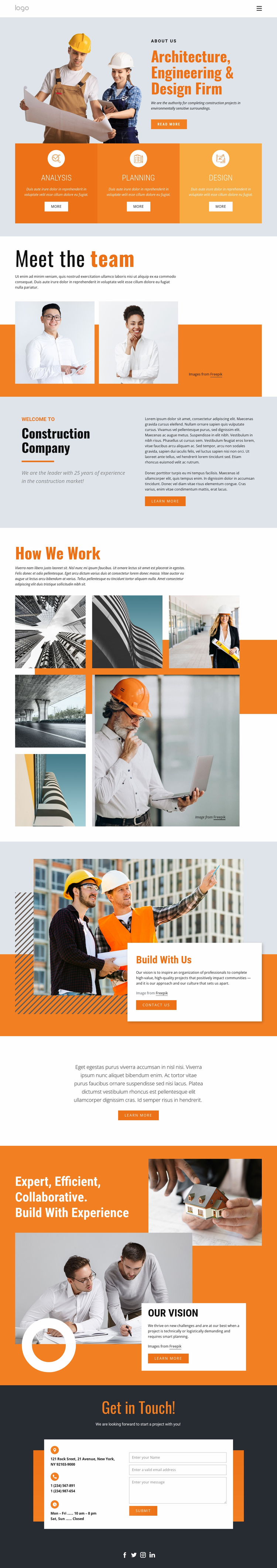 Engineering firm Landing Page