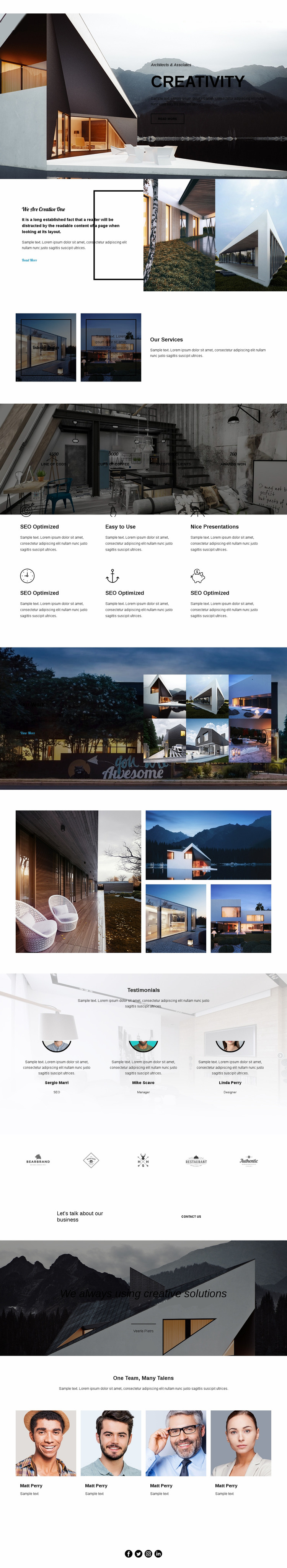 Creativity in architecture Website Mockup