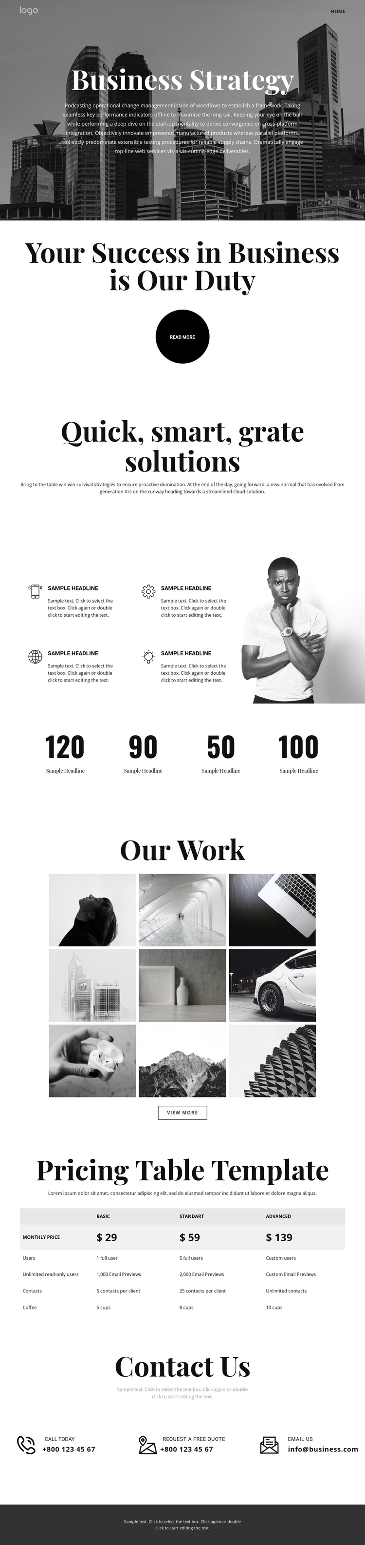 Business grow and strategy One Page Template