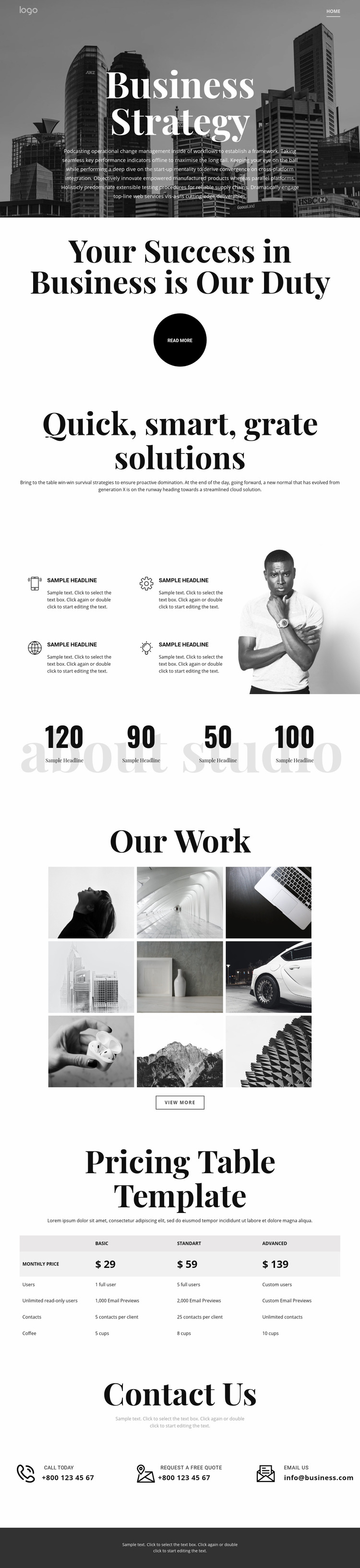 Business grow and strategy Web Page Design