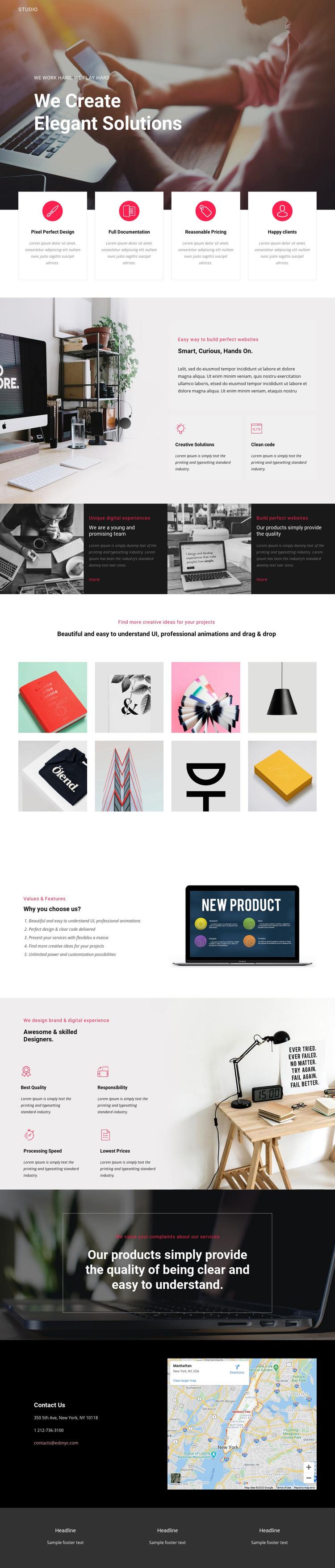 Elegant solutions in business  Homepage Design