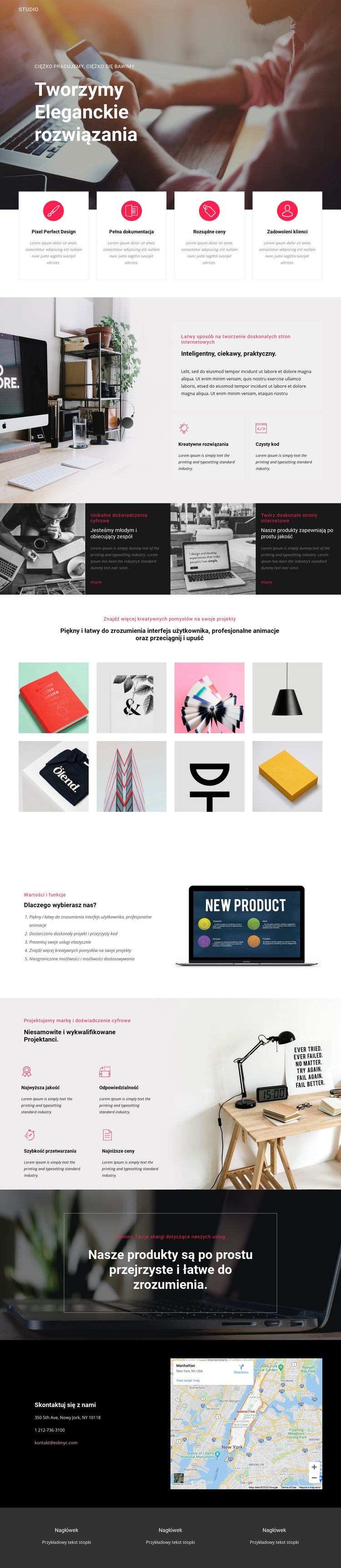 Eleganckie rozwiązania w biznesie Szablon witryny sieci Web