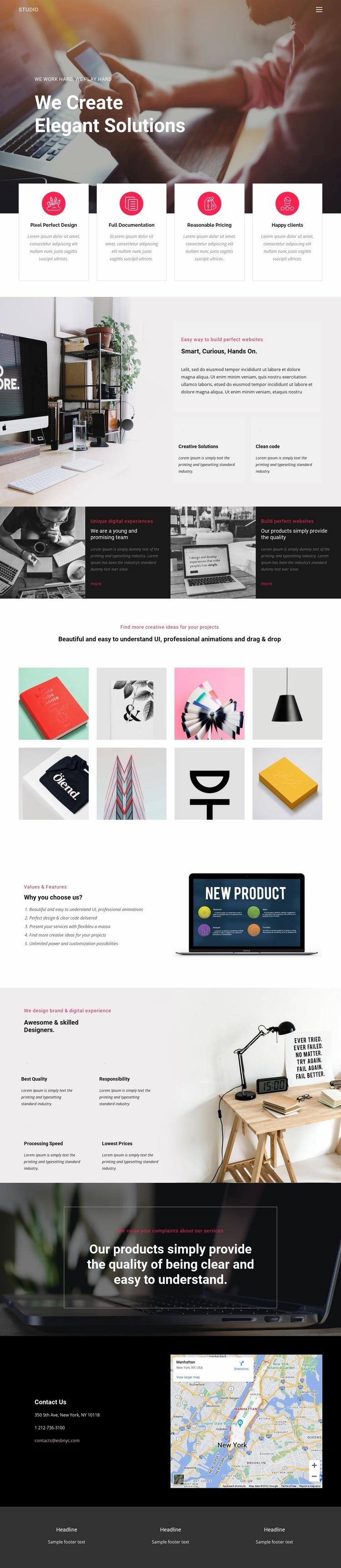 Elegant solutions in business  Website Mockup