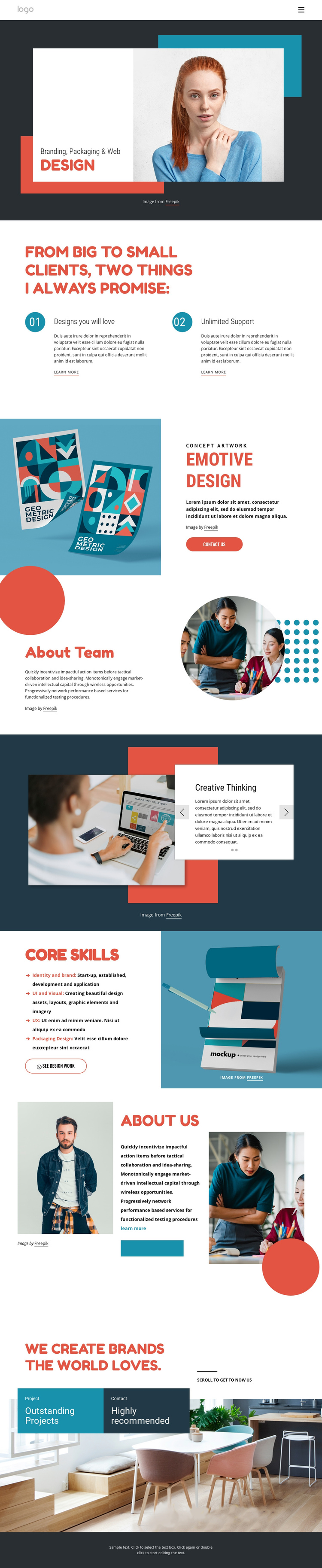 Strategy naming & brand identity One Page Template