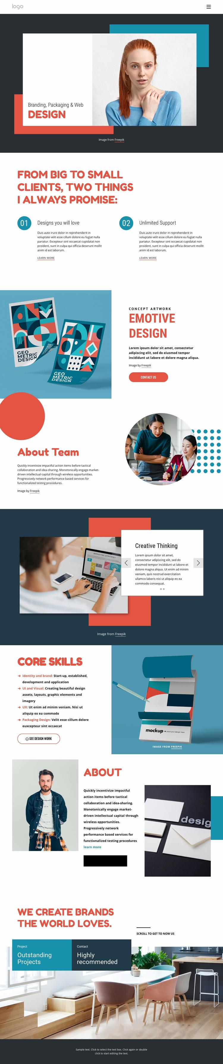 Strategy naming & brand identity Web Page Design