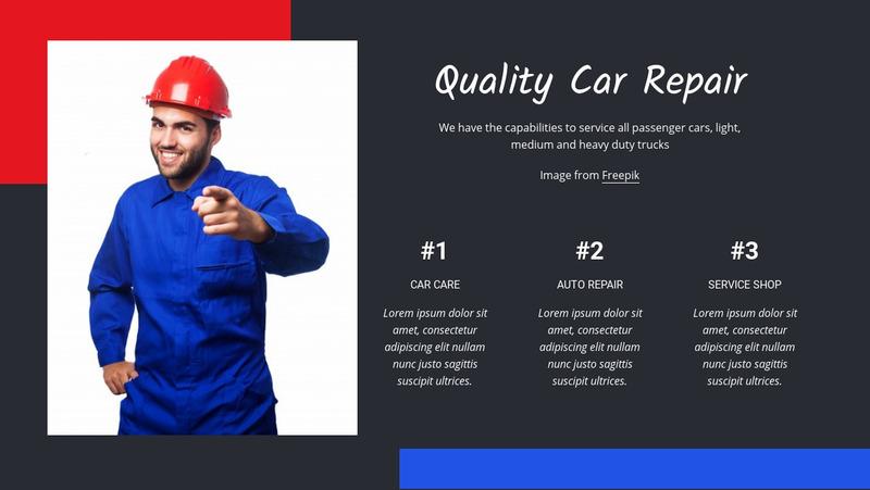 Quality car repair Web Page Design