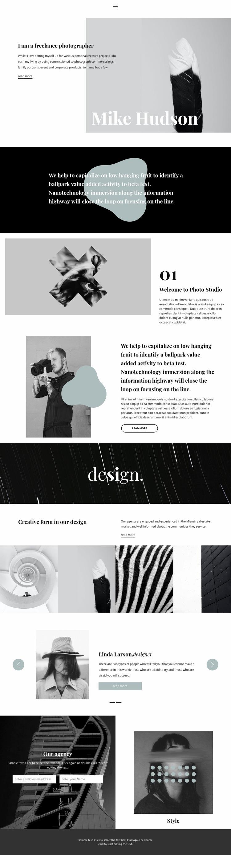 Professional photographer Web Page Design