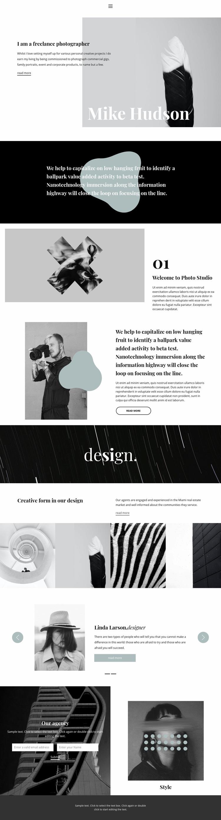 Professional photographer Web Page Designer