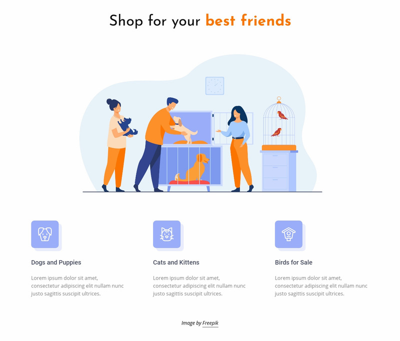 Pets and animals shop Web Page Designer
