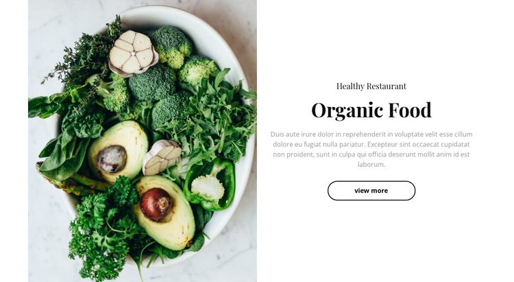 Organic food restaurant Website Builder Software