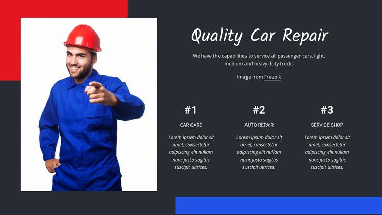 Quality car repair Website Mockup
