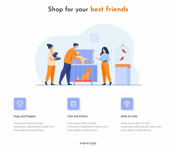 Pets and animals shop Website Mockup