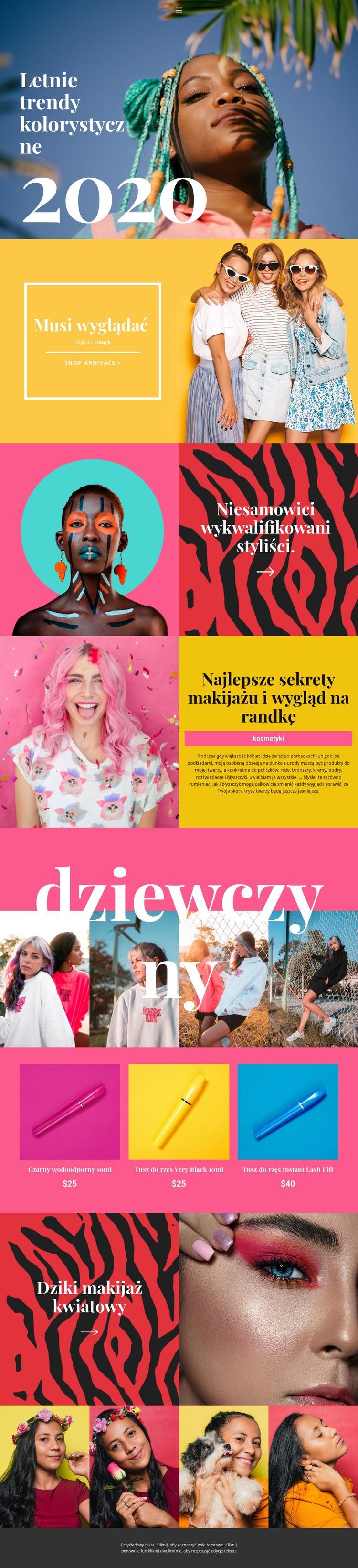 Informacje o trendach kosmetycznych Szablon witryny sieci Web