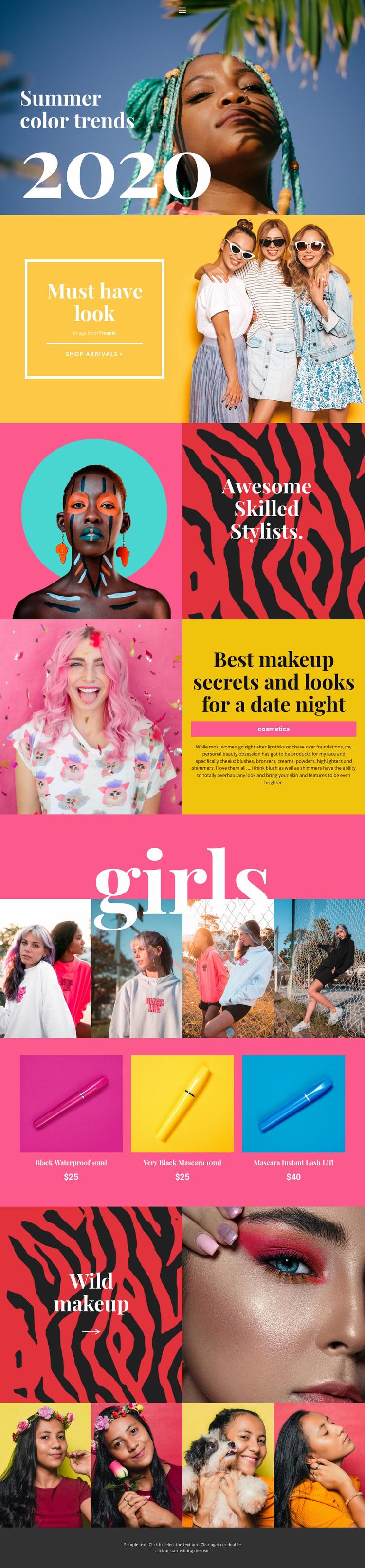 Beauty trends info Web Page Designer