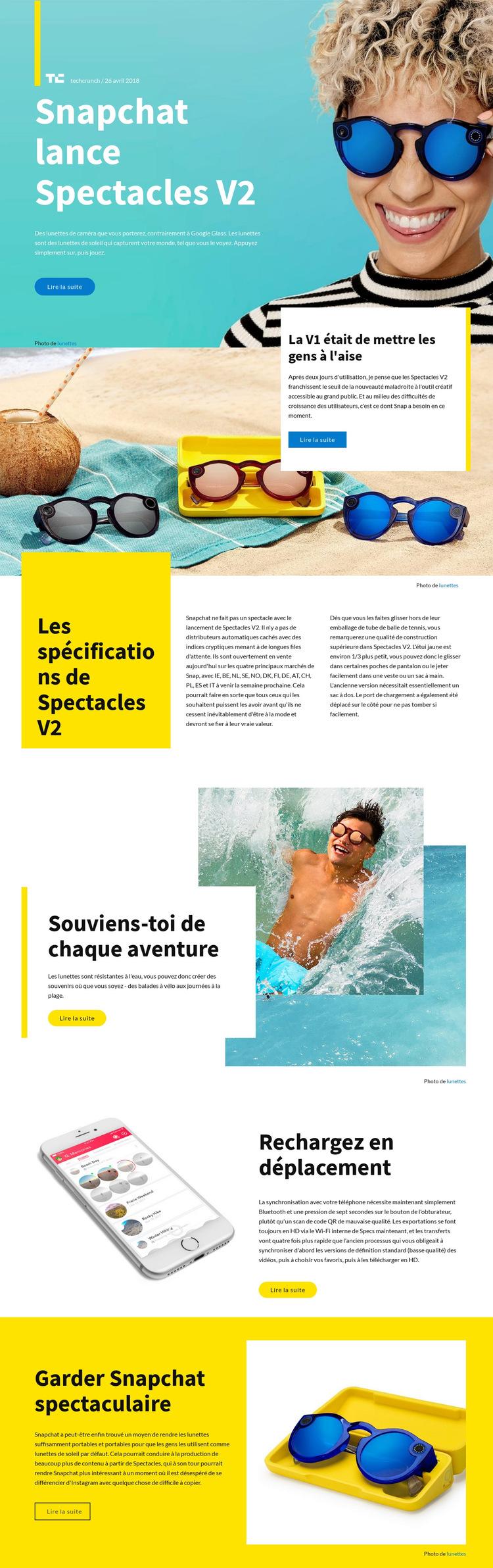 Lanceurs Snapchat Modèle de site Web