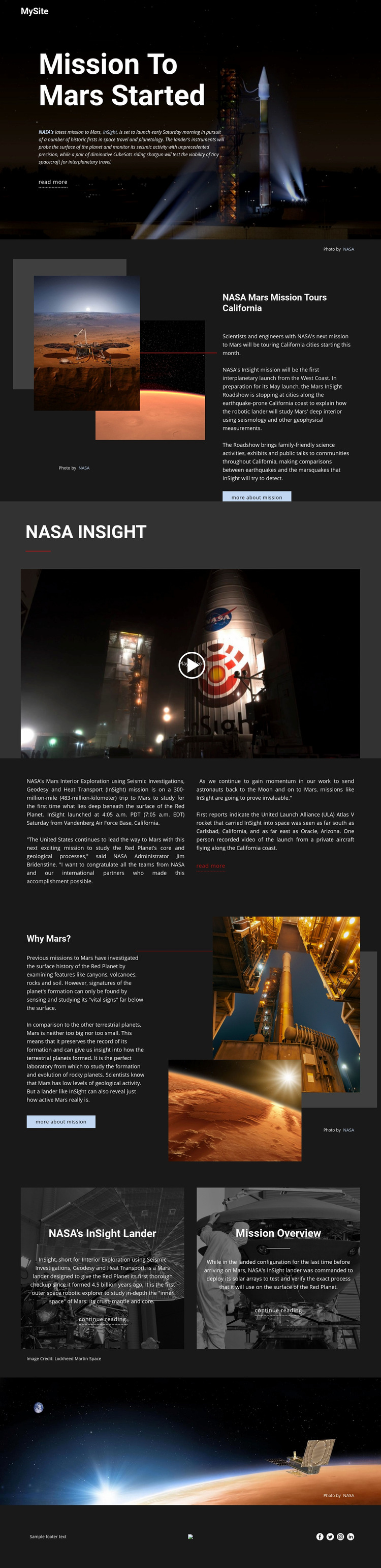 Mission To Mars Web Page Design