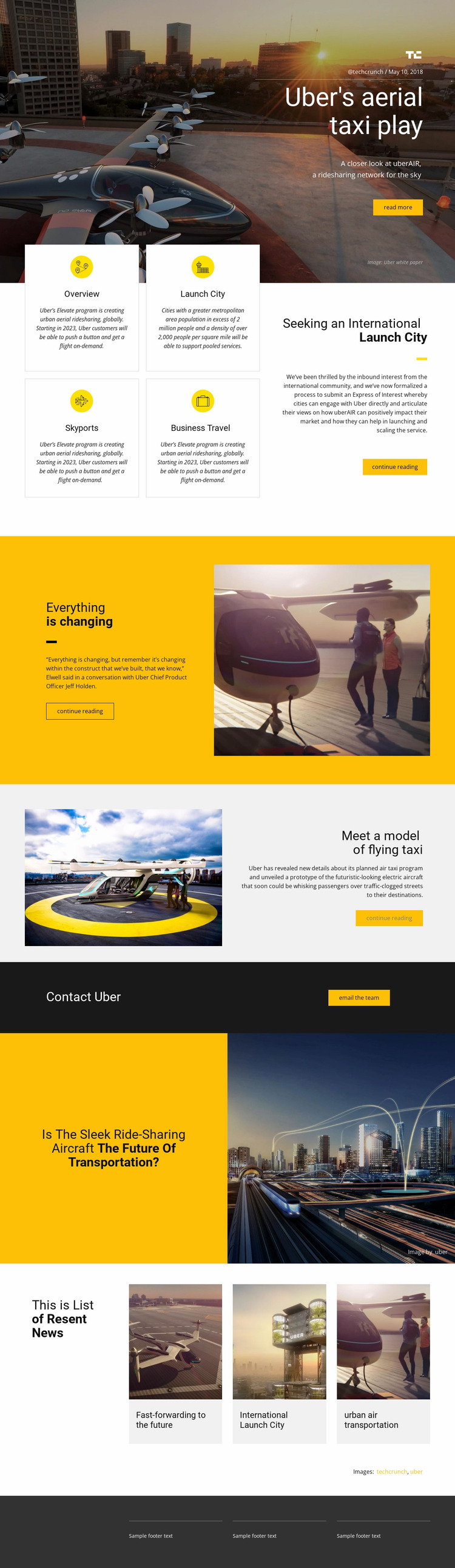 Uber's Aerial Taxi Play Website Mockup