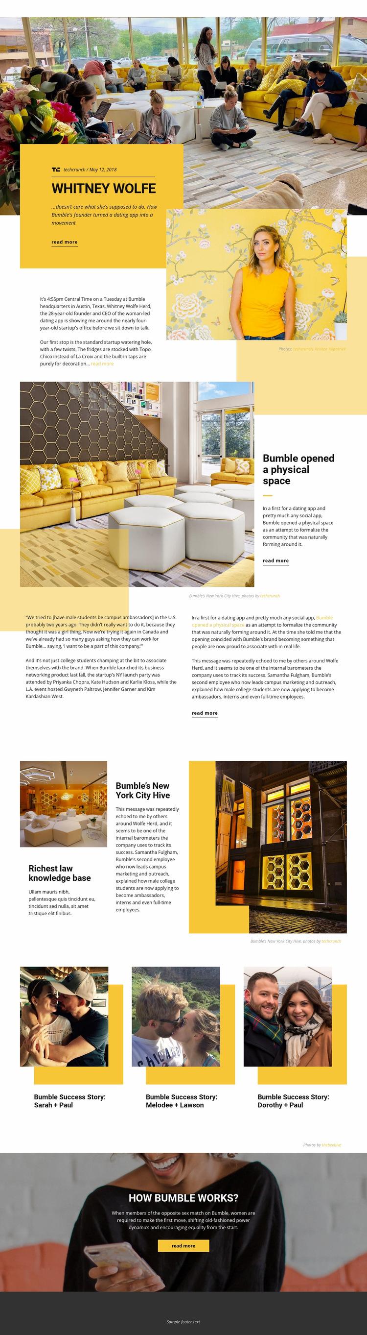 Bumble Space Web Page Design