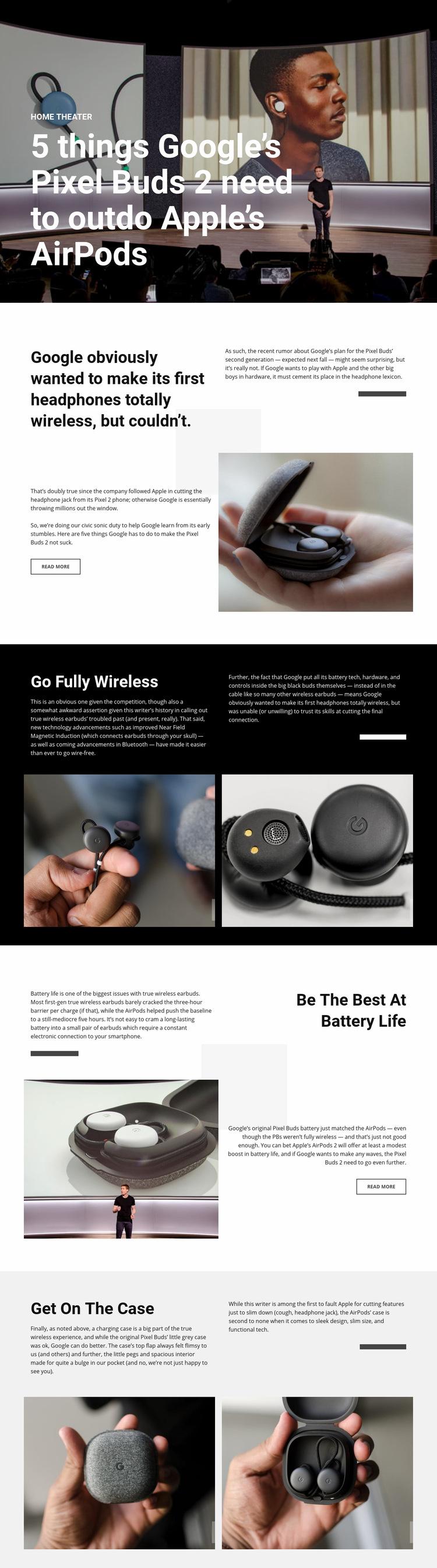 Pixel Buds 2 Web Page Design