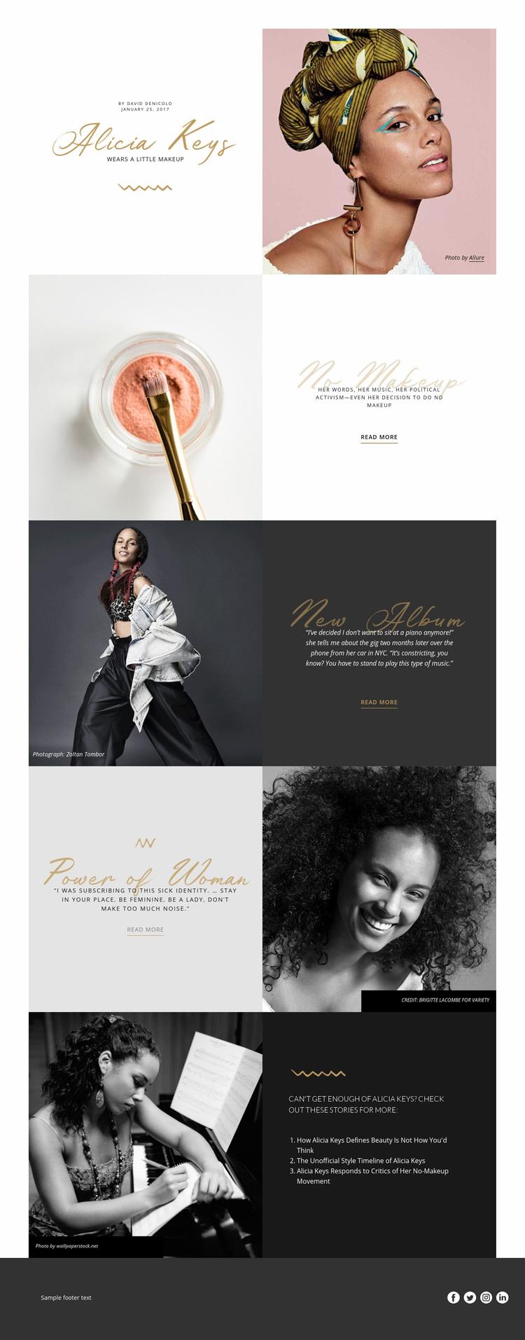 Alicia Keys Web Page Designer