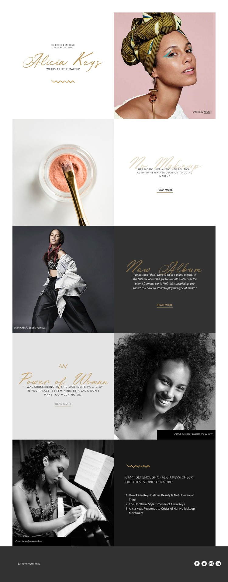 Alicia Keys Website Creator