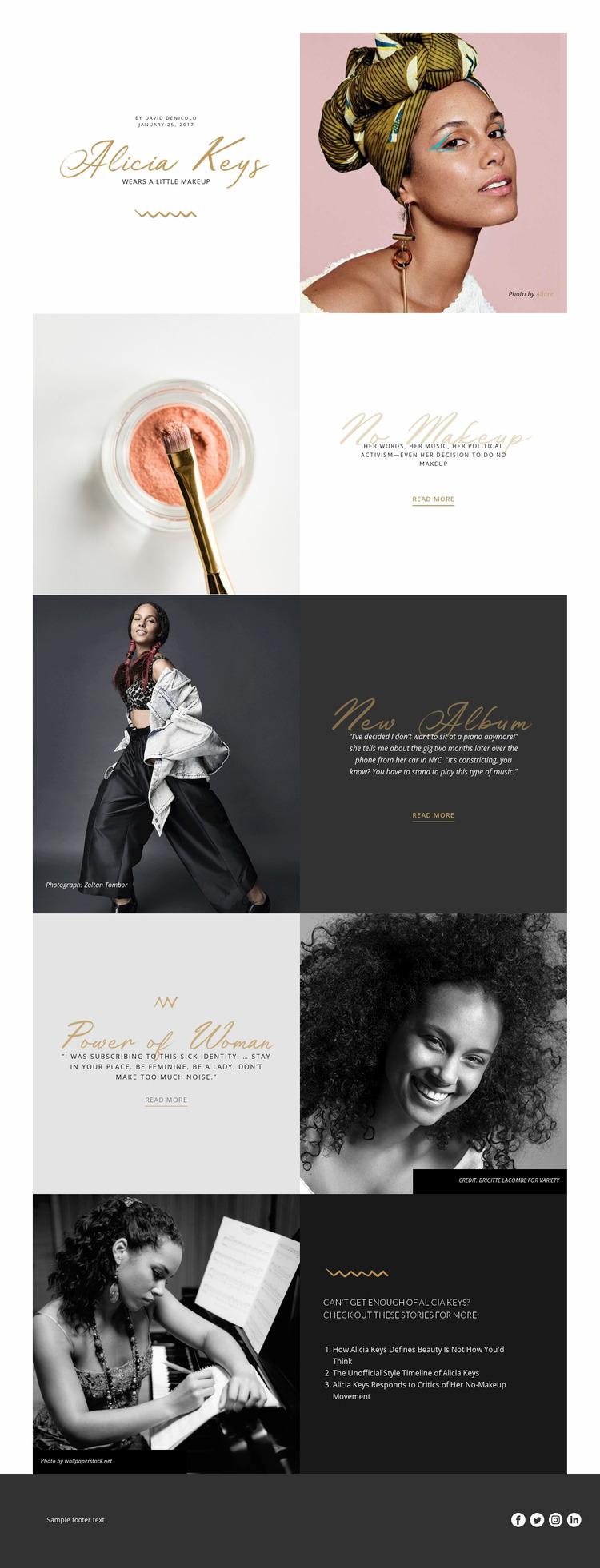 Alicia Keys WordPress Website Builder