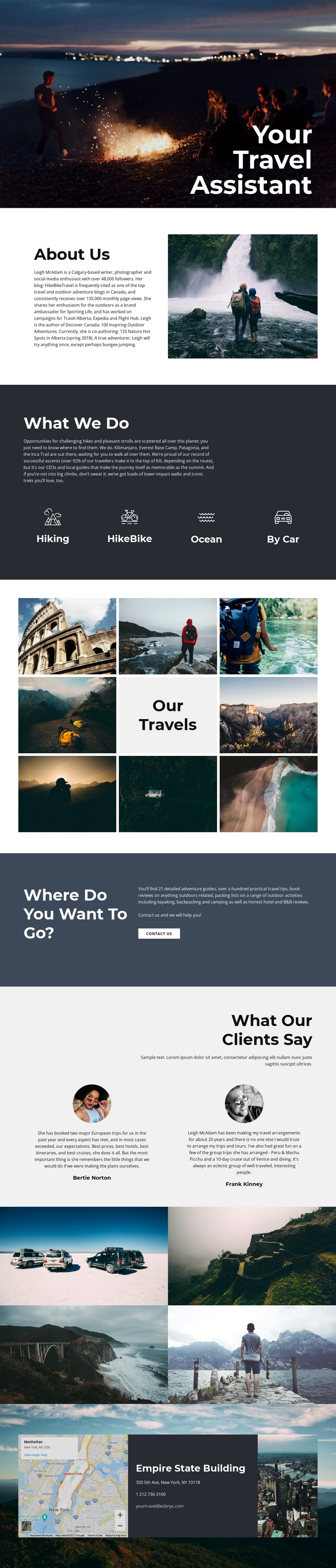 Travel Assistant One Page Template