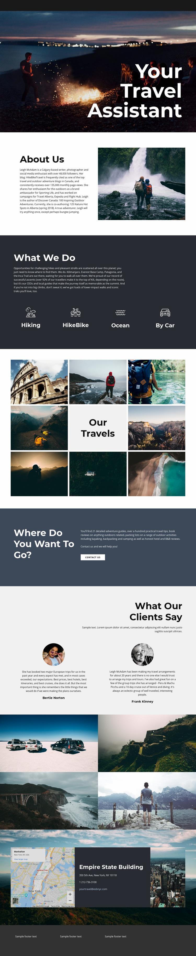 Travel Assistant Web Page Design