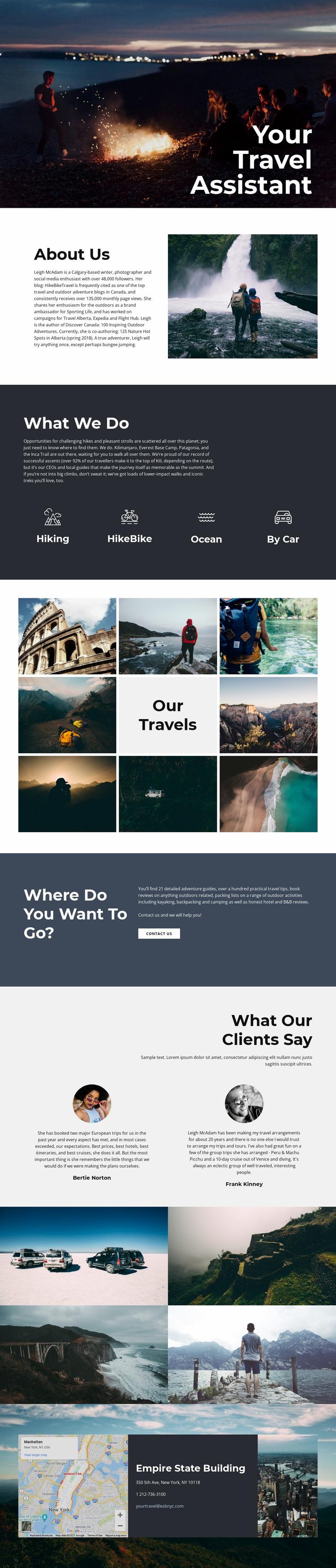 Travel Assistant Website Mockup