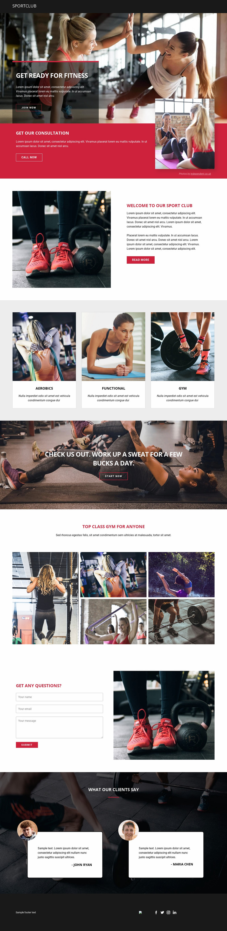 Ready for fitness and sports Website Mockup