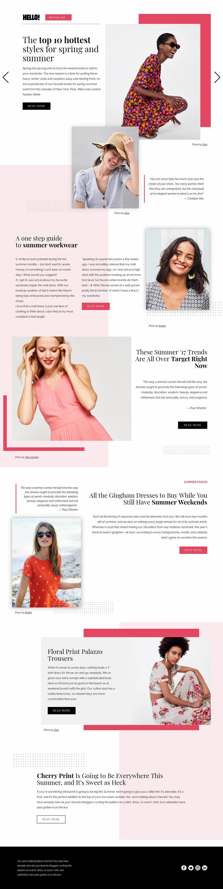 Fashion Trends Website Mockup