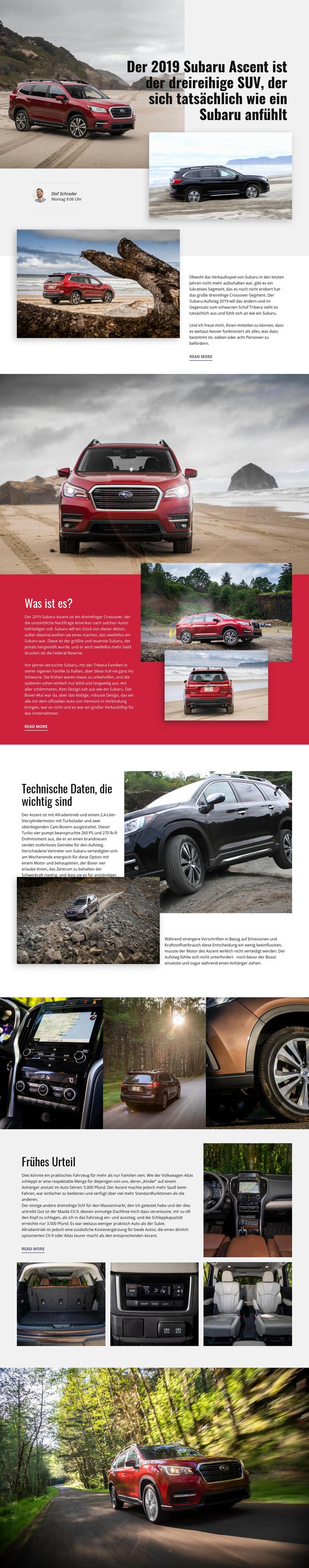 Subaru Website-Vorlage