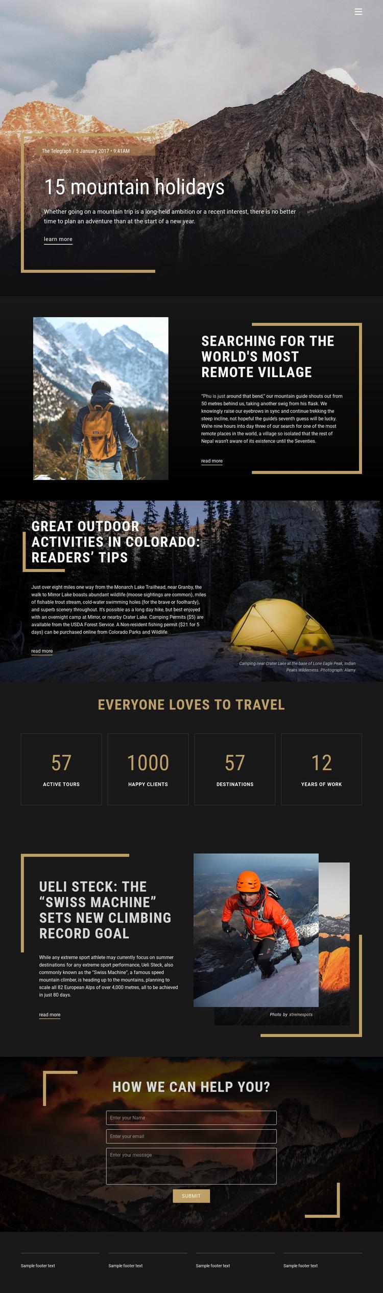 Mountain Holidays Homepage Design