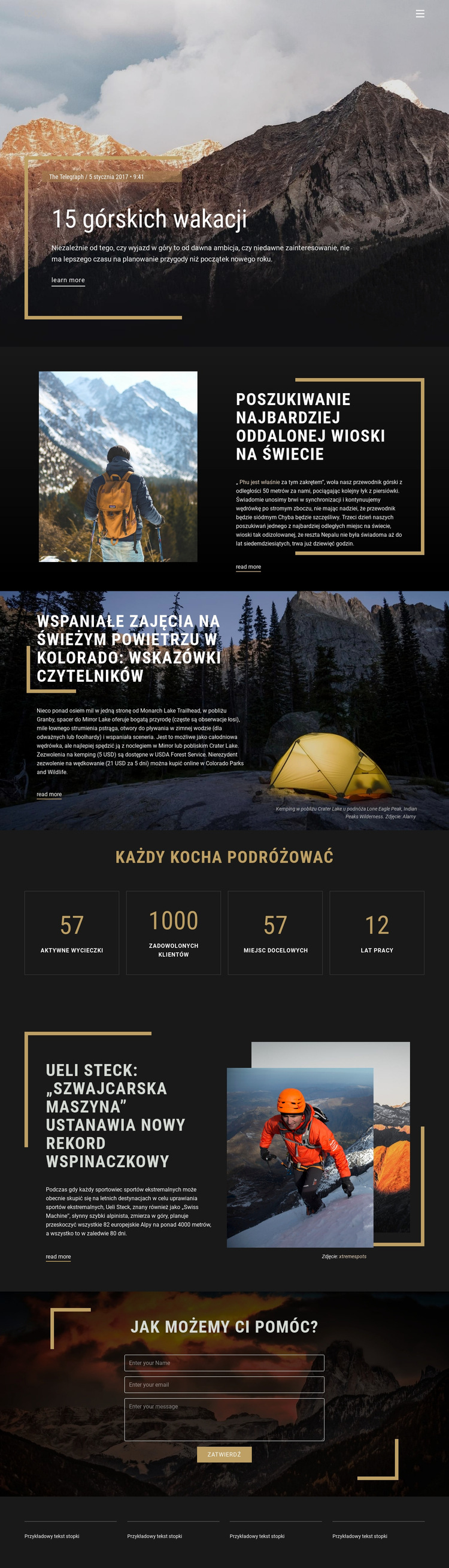 Wakacje w górach Szablon witryny sieci Web