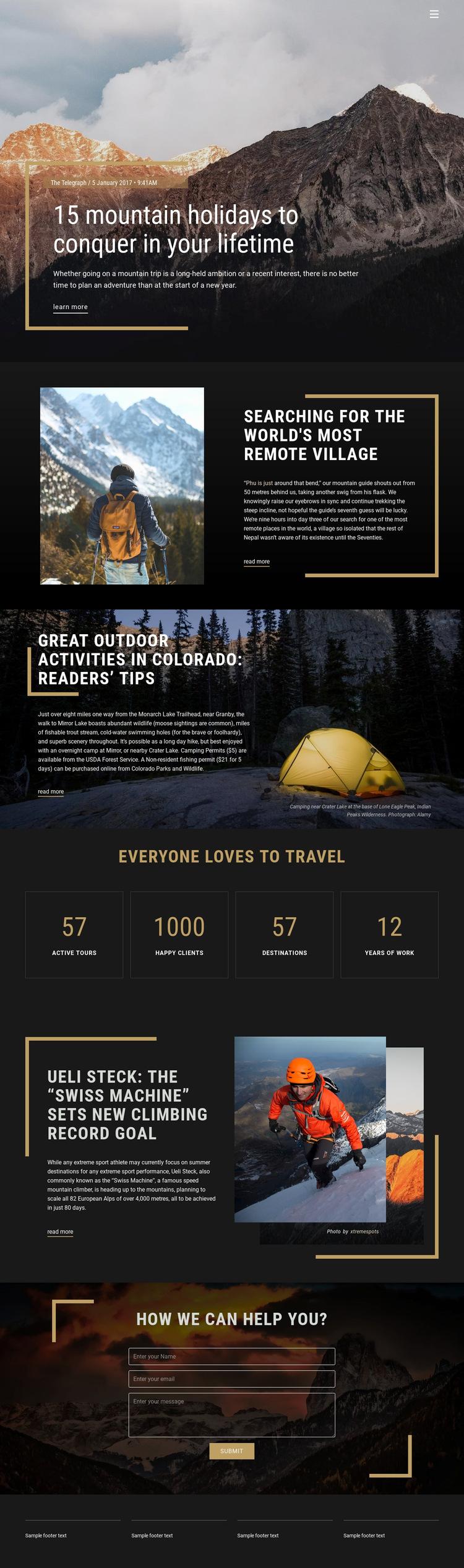 Mountain Holidays Web Page Design