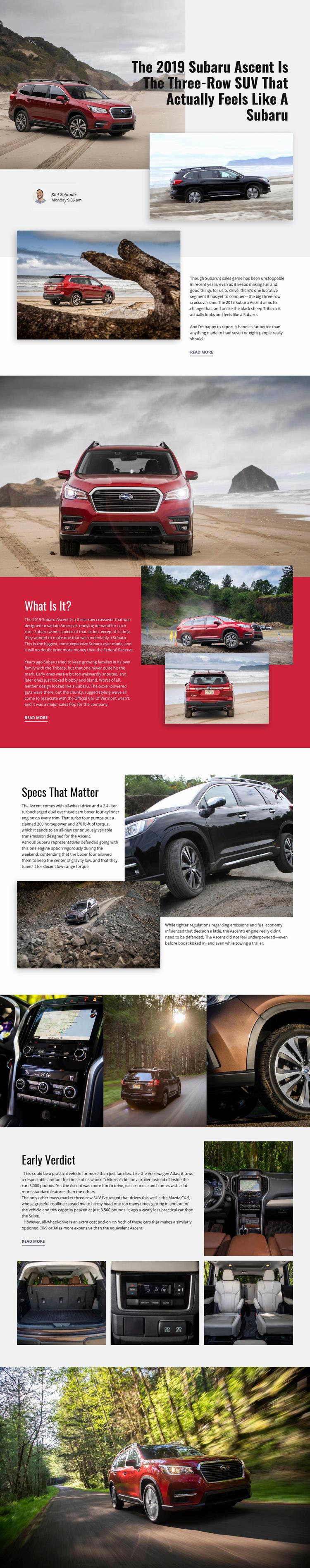 Subaru Web Page Design