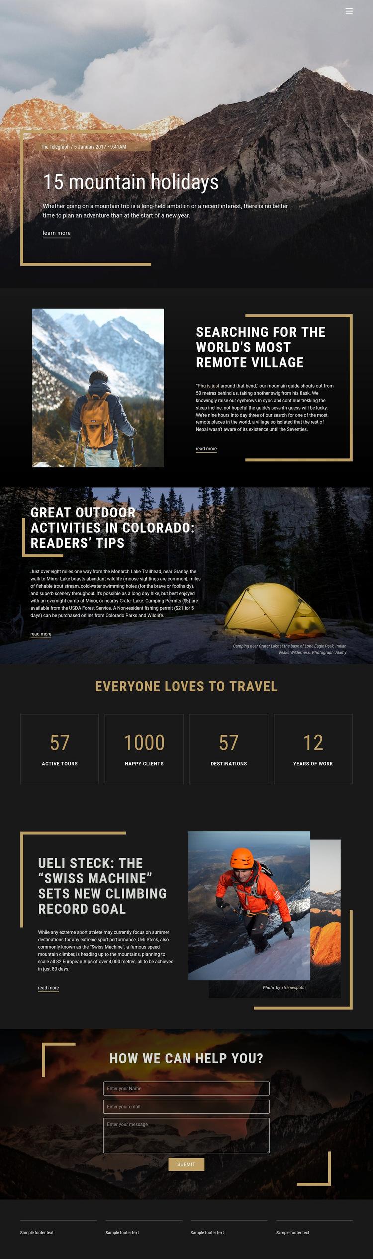 Mountain Holidays Website Builder Templates