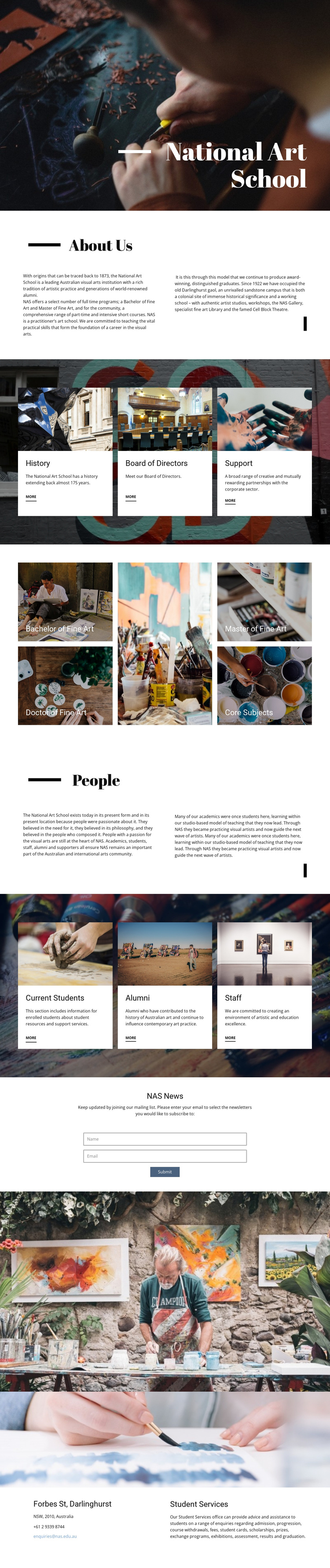 National art school One Page Template