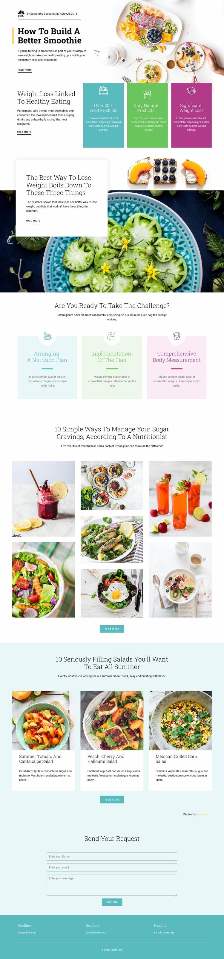 Smoothie Recipes Website Mockup