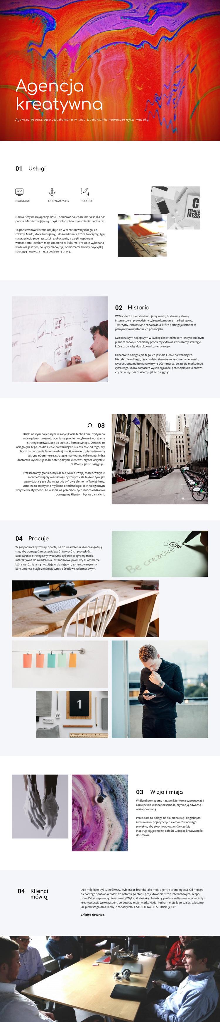 Galeria kreatywna Szablon witryny sieci Web