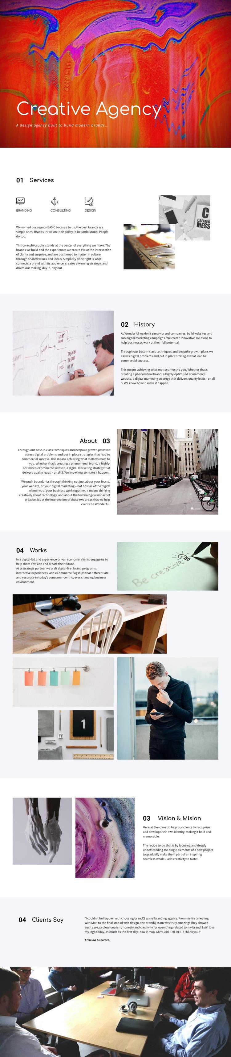 Creative gallery Website Mockup