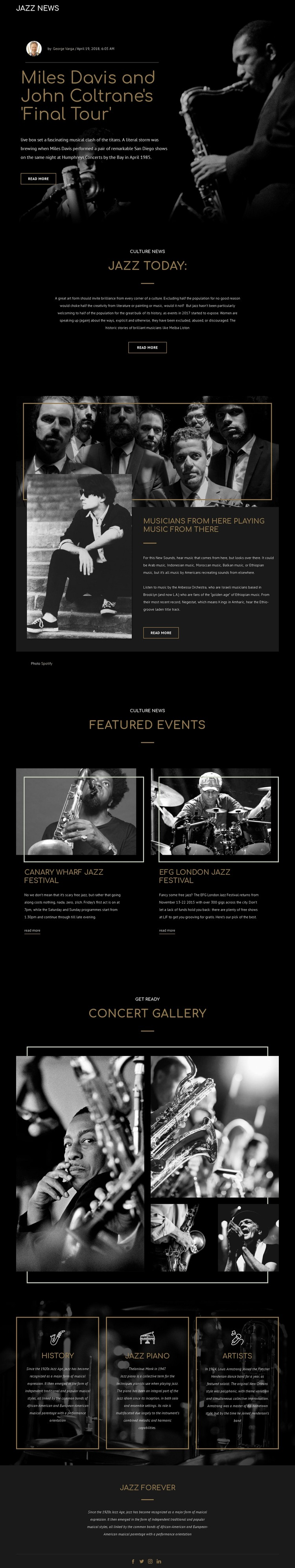Legengs of jazz music CSS Template