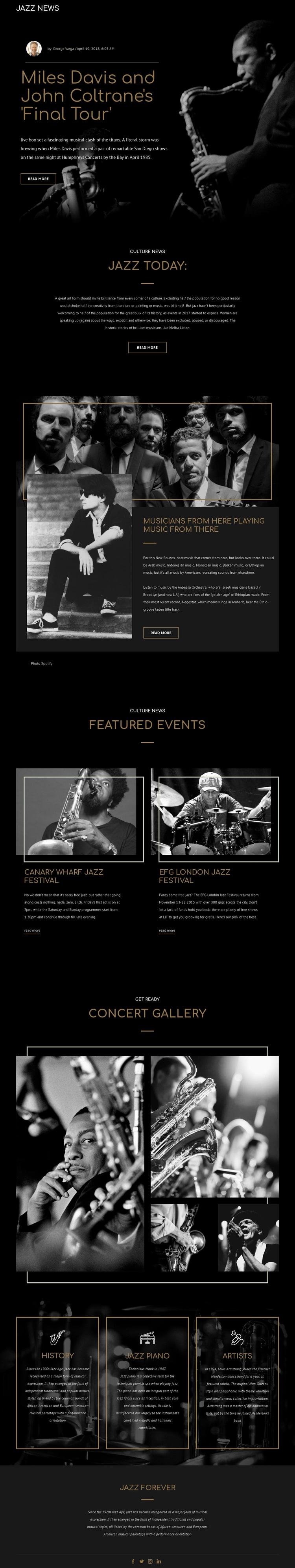 Legengs of jazz music Joomla Page Builder