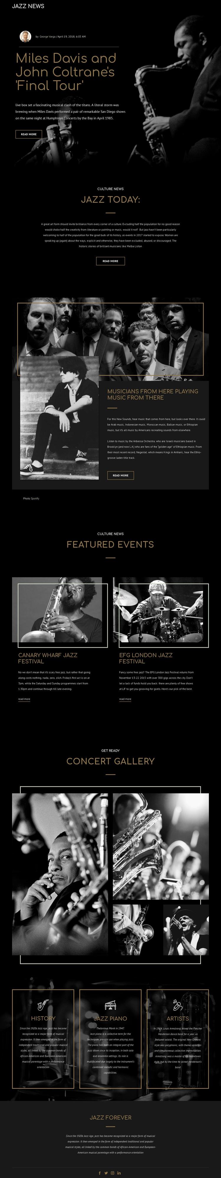 Legengs of jazz music Joomla Template