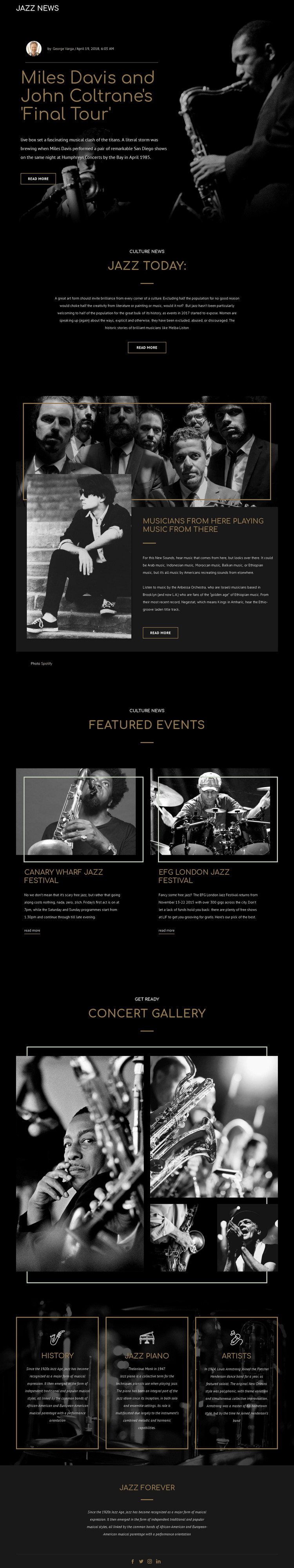 Legengs of jazz music Web Design