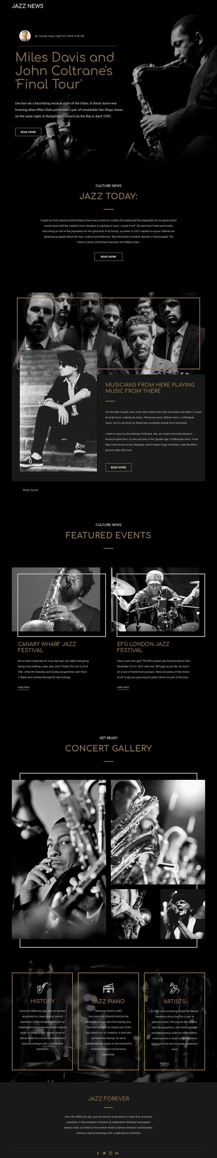 Legengs of jazz music Website Mockup